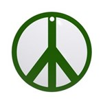 Green Peace Sign Ornament (Round)