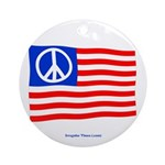 Peace Flag Holiday Ornament (Round)