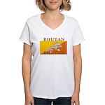Bhutan.jpg Women's V-Neck T-Shirt