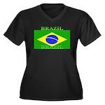 Brazilblack.png Women's Plus Size V-Neck Dark T-Sh