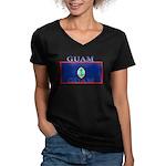 Guam.jpg Women's V-Neck Dark T-Shirt