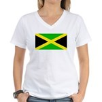Jamaicablank.jpg Women's V-Neck T-Shirt