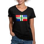 Groningenblank.jpg Women's V-Neck Dark T-Shirt