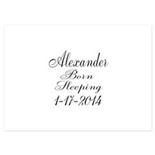 Personalizable Born Sleeping Invitations