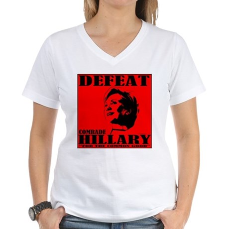 Defeat Comrade Hillary Women's V-Neck T-Shirt