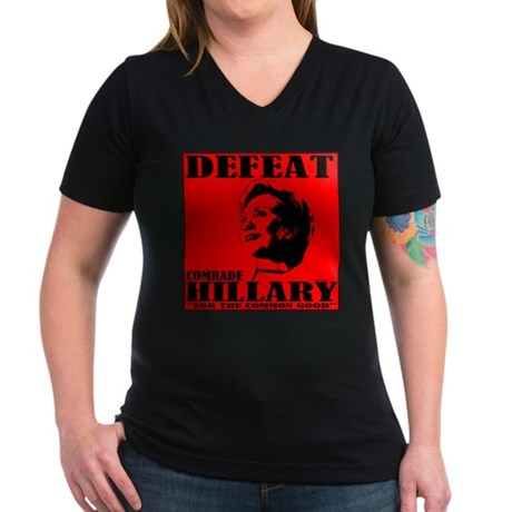 Defeat Comrade Hillary Women's V-Neck Dark T-Shirt