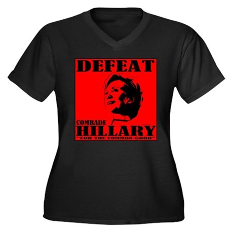 Defeat Comrade Hillary Women's Plus Size V-Neck Da