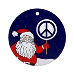 Santa Peace Sign Christmas Ornament