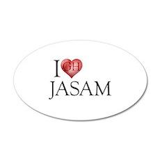 I Heart Jasam 22x14 Oval Wall Peel