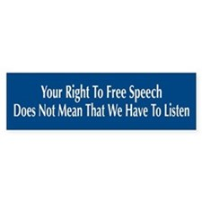 Right To Free Speech Blue Bumper Car Sticker
