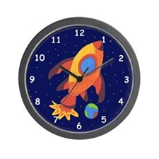 Outer Space Rocket Ship Wall Clock