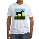 Grassy Field Horse Fitted T-Shirt