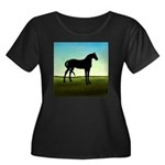 Grassy Field Horse Women's Plus Size Scoop Neck Da