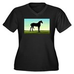 Grassy Field Horse Women's Plus Size V-Neck Dark T