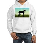 Grassy Field Horse Hooded Sweatshirt