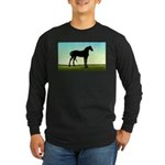 Grassy Field Horse Long Sleeve Dark T-Shirt
