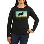 Grassy Field Horse Women's Long Sleeve Dark T-Shir