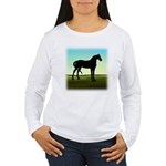 Grassy Field Horse Women's Long Sleeve T-Shirt