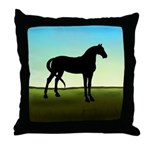 Grassy Field Horse Throw Pillow