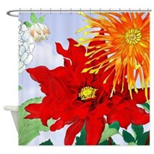 Dahlias! Japanese Woodcut Shower Curtain