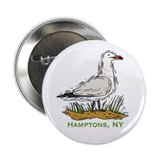 "Hamptons NY Seagull 2.25"" Button (100 pack)"