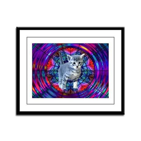 Kaleidoscope Kitty Framed Panel Print