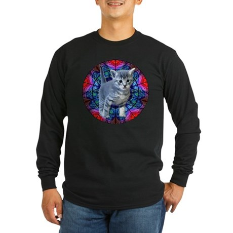 Kaleidoscope Kitty Long Sleeve Dark T-Shirt