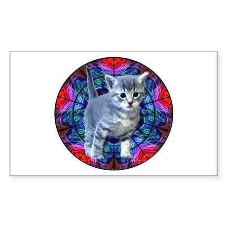 Kaleidoscope Kitty Rectangle Sticker