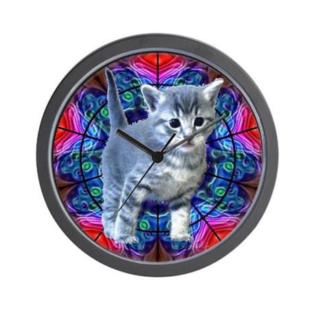 Kaleidoscope Kitty Wall Clock