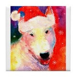 Christmas Bull terrier Tile Coaster 4.25x4.25""