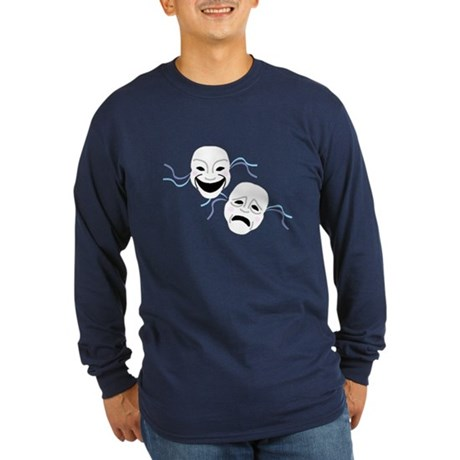 Theater Masks Long Sleeve Dark T-Shirt