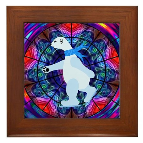 Skating Polar Bear Framed Tile