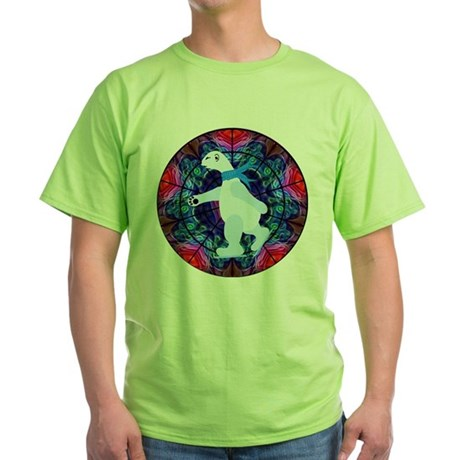Skating Polar Bear Green T-Shirt