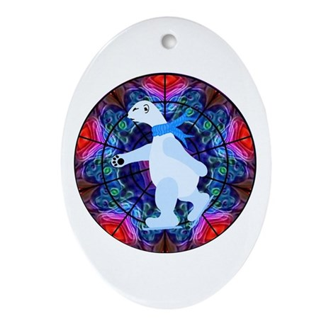 Skating Polar Bear Oval Ornament