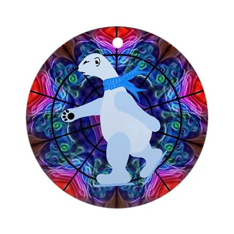 Skating Polar Bear Ornament (Round)