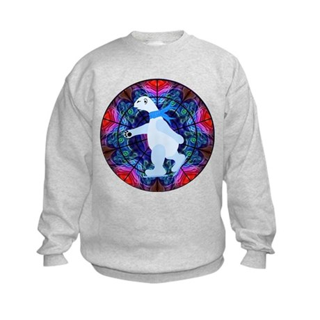 Skating Polar Bear Kids Sweatshirt
