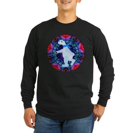 Skating Polar Bear Long Sleeve Dark T-Shirt