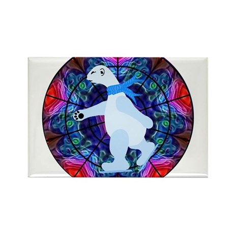 Skating Polar Bear Rectangle Magnet (100 pack)