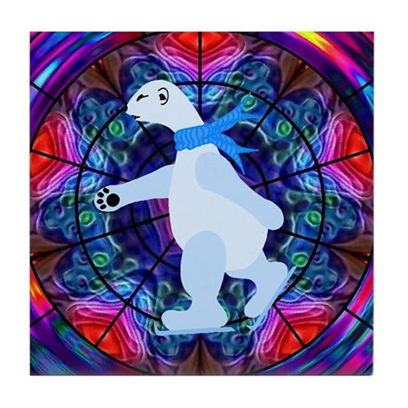 Skating Polar Bear Tile Coaster