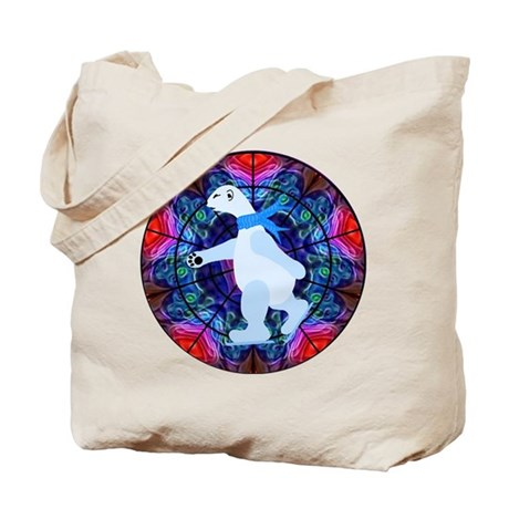 Skating Polar Bear Tote Bag