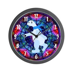 Skating Polar Bear Wall Clock