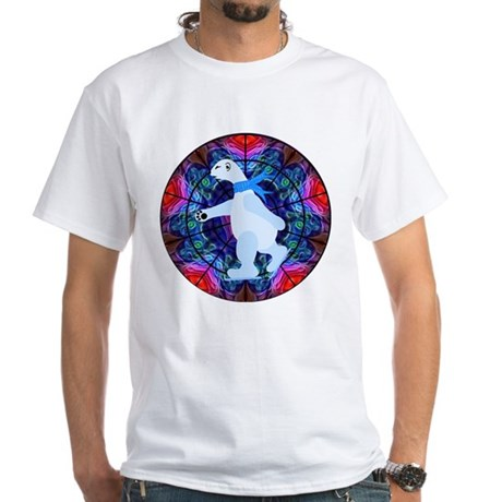 Skating Polar Bear White T-Shirt