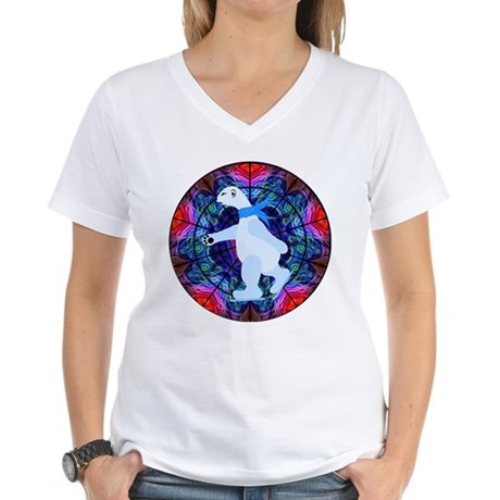 Skating Polar Bear Women's V-Neck T-Shirt