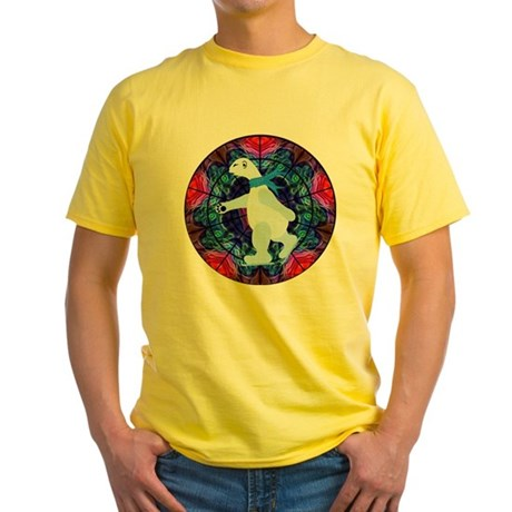 Skating Polar Bear Yellow T-Shirt