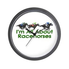 I'm All About Racehorses Wall Clock