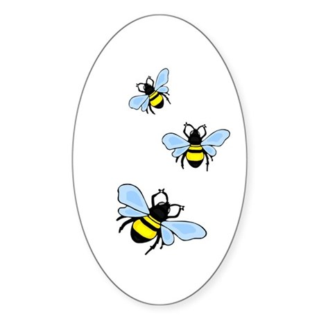 Bumble Bees Oval Sticker