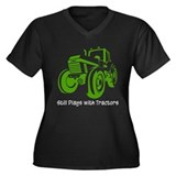 Green Tractor Women's Plus Size V-Neck Dark T-Shir