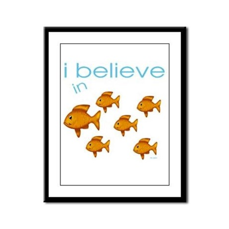 I believe in fish Framed Panel Print