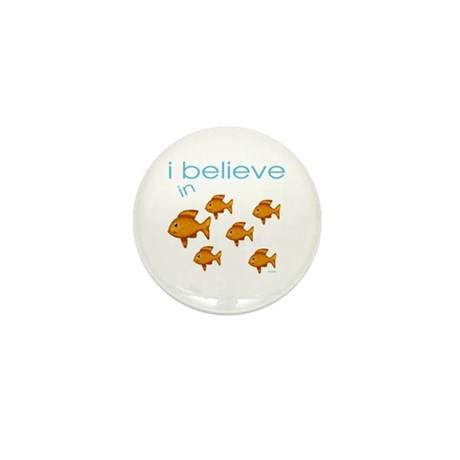 I believe in fish Mini Button