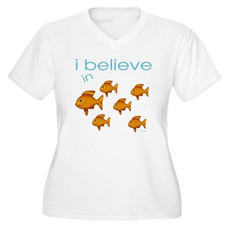 I believe in fish Women's Plus Size V-Neck T-Shirt